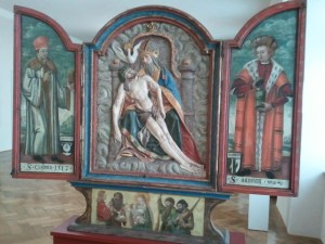 """Gnadenstuhl,"" or ""mercy seat"" depiction of the Holy Trinity, flanked by two saints, from mid-1500's"